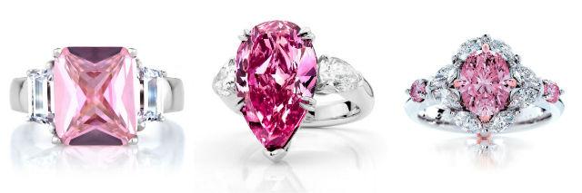 des bagues avec diamants roses