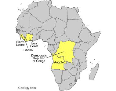 carte d'afrique des exploitations de diamants