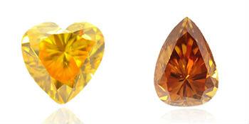 des diamants oranges aux teintes jaunes et brunes