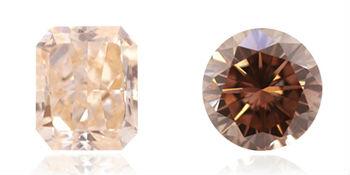 des lègères teintes de rose dans un diamant orange