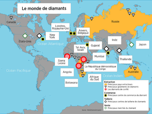 carte du monde des diamants