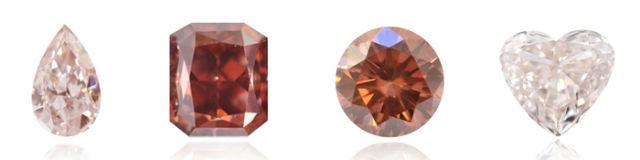 plusieurs nuances de couleurs des diamants roses