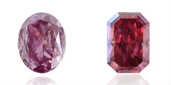 nuance rouge et violette du diamant rose