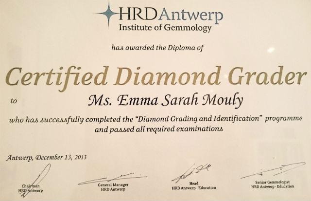 diplôme de gemmologie de l'hrd antwerp