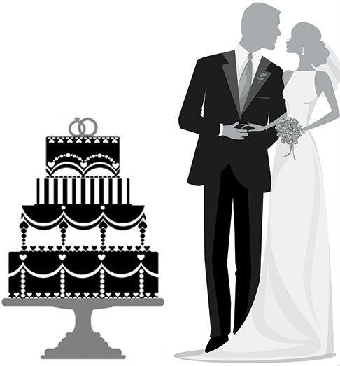 couple de mariés avec un gâteau