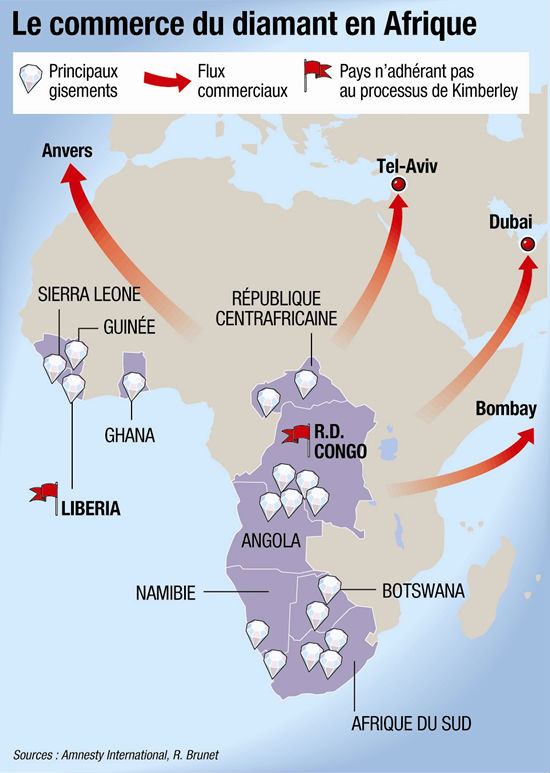 carte du commerce de diamant en afrique