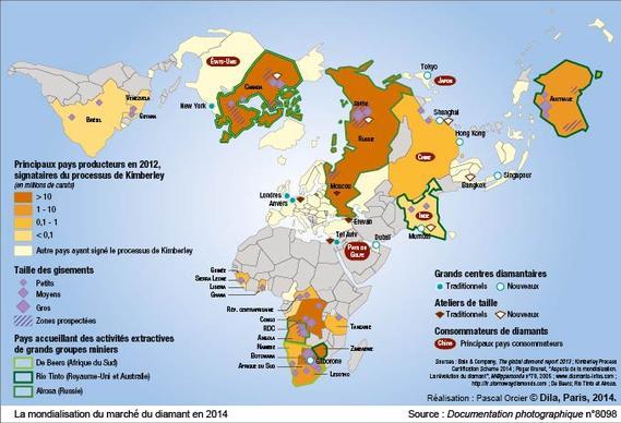 carte de La mondialisation du marche du diamant en 2014