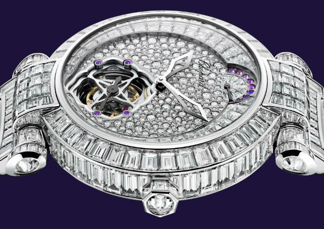 Montre Chopard sertie de diamants fantaisie en baguette