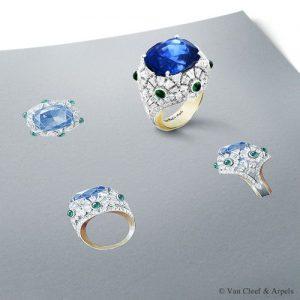 dessin technique d'un bijou réalisé par Van Cleef & Arpels