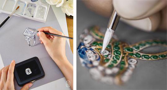 dessin technique de bijou par dior et harry winston